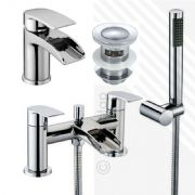Scudo Modern Bath Shower Mixer & Basin Mixer Tap Pack with Slotted Click-Clack Waste | Deck Mounted | Brass with Chrome Finish